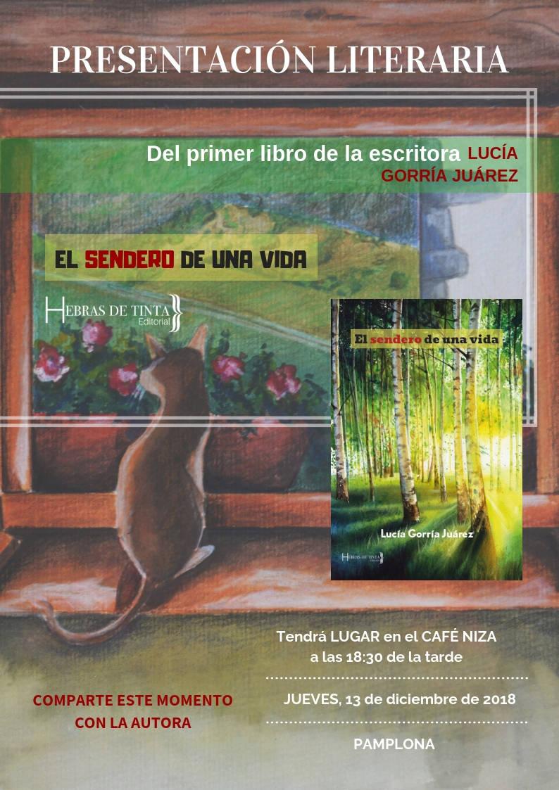 Cartel de la editorial hebras de tinta para la escritora Lucía Gorría Juárez