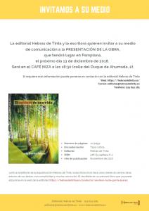Nota de prensa de la editorial Hebras de Tinta para la obra autopublicada El sendero de una vida