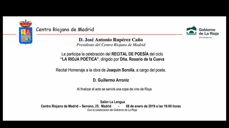 Invitación Recital Guillermo Arróniz. Centro Riojano Madrid. Editorial Hebras de Tinta. Autopublicación Literaria.