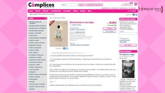 """Librería Cómplices cuenta con la novela """"Eternamente en tus ojos"""""""
