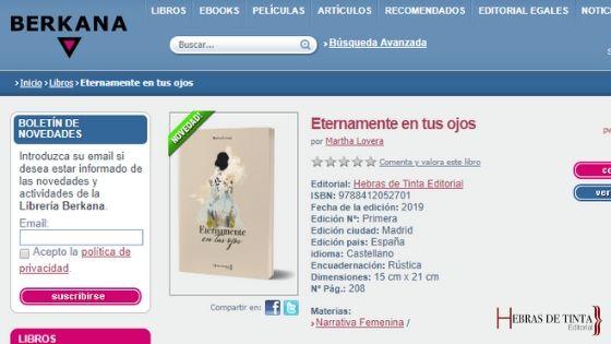 """Librería Berkana ya es punto de venta para """"Eternamente en tus ojos"""""""