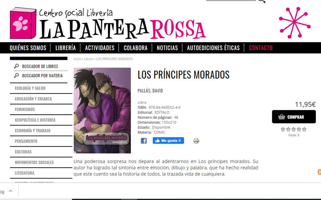 Librería La pantera rosa tiene ejemplares de «Los príncipes morados», de David Pallás